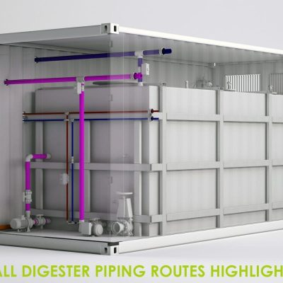 MedTec Design 3D Rendered All Digester Piping Routes Highlighted - Hampshire
